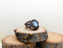 Labradorite Wire wrapped ring oxidized copper
