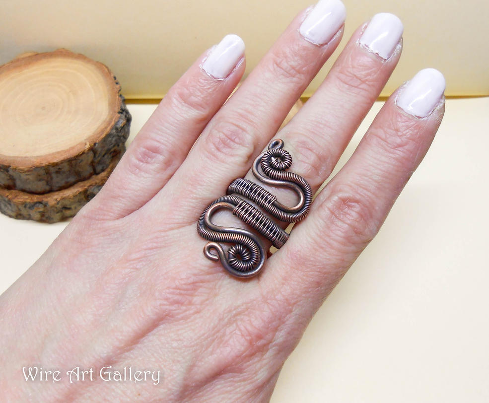 Copper Wire wrapped ring, spirals coils / oxidized by artSistaFotini ...