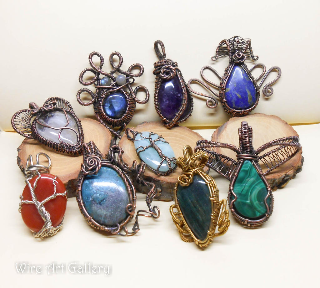 wire wrapped copper pendants gemstones jewelry by