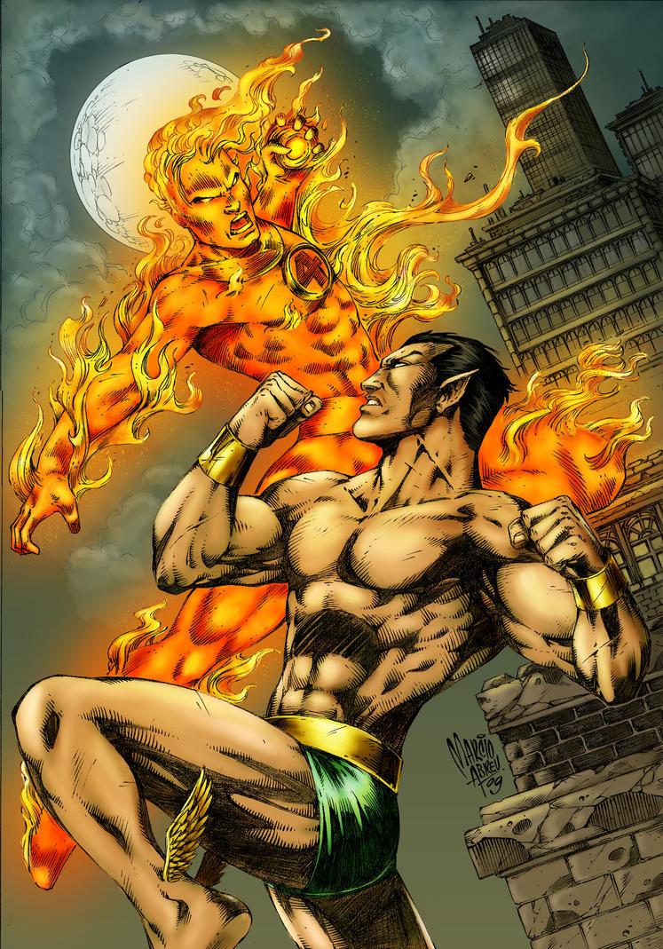 Namor vs Human Torch colored by alexasrosa