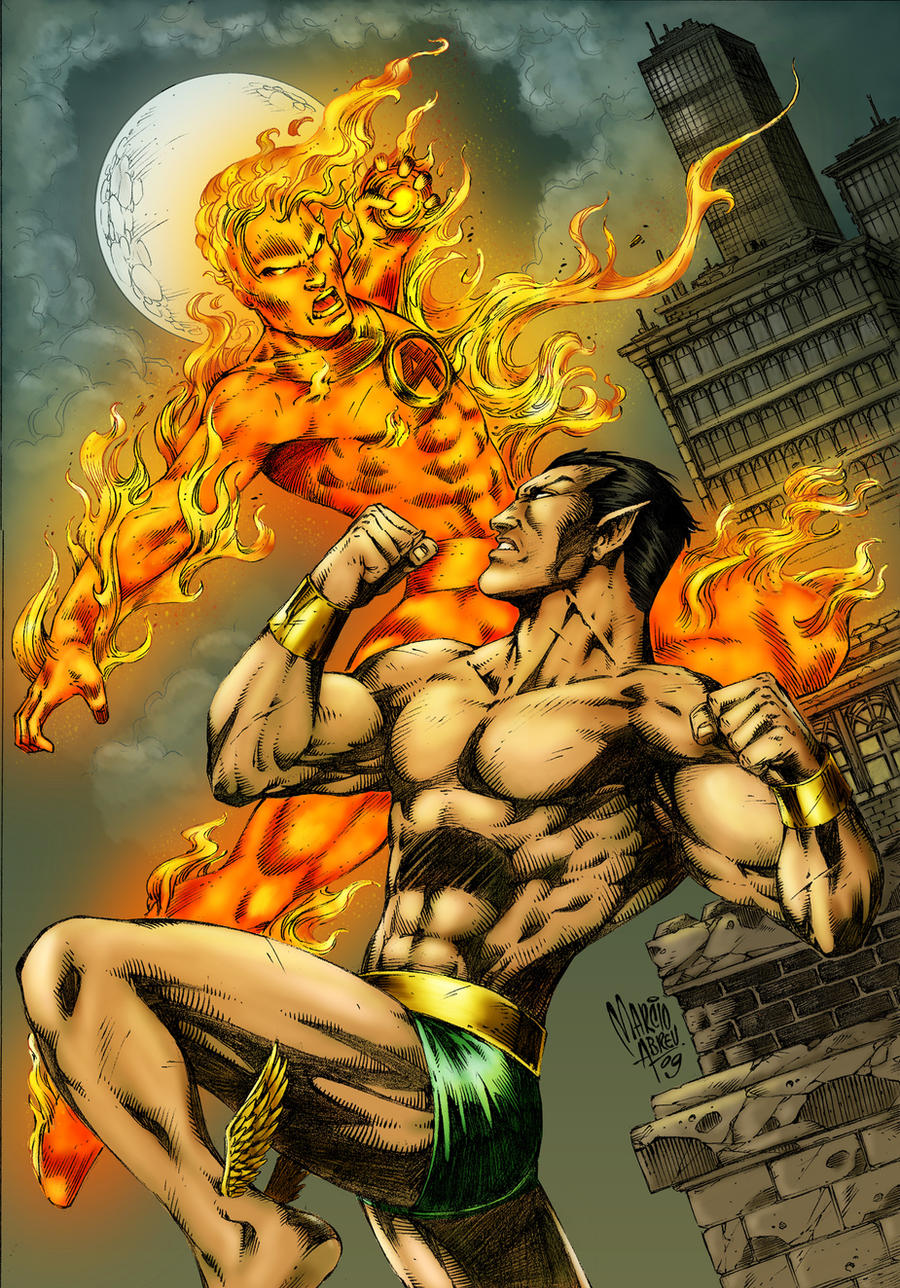 Namor vs Human Torch colored by alexasrosa