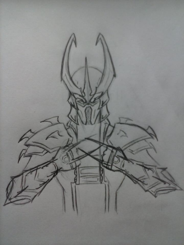 Teenage Mutant Ninjavengers-Loki Shredder(sketch) by echelonangel15