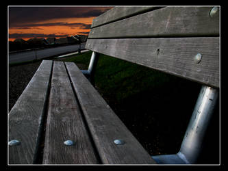 Sunset on a Bench by GwagDesigns