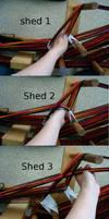 Double heddling sheds