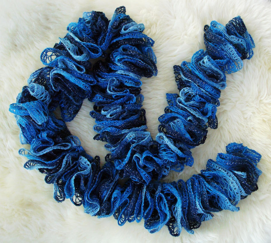 Crochet Pattern For Scarf Using Sashay Yarn : Challange day 1: Crocheted Sashay Yarn Scarf by flufdrax ...