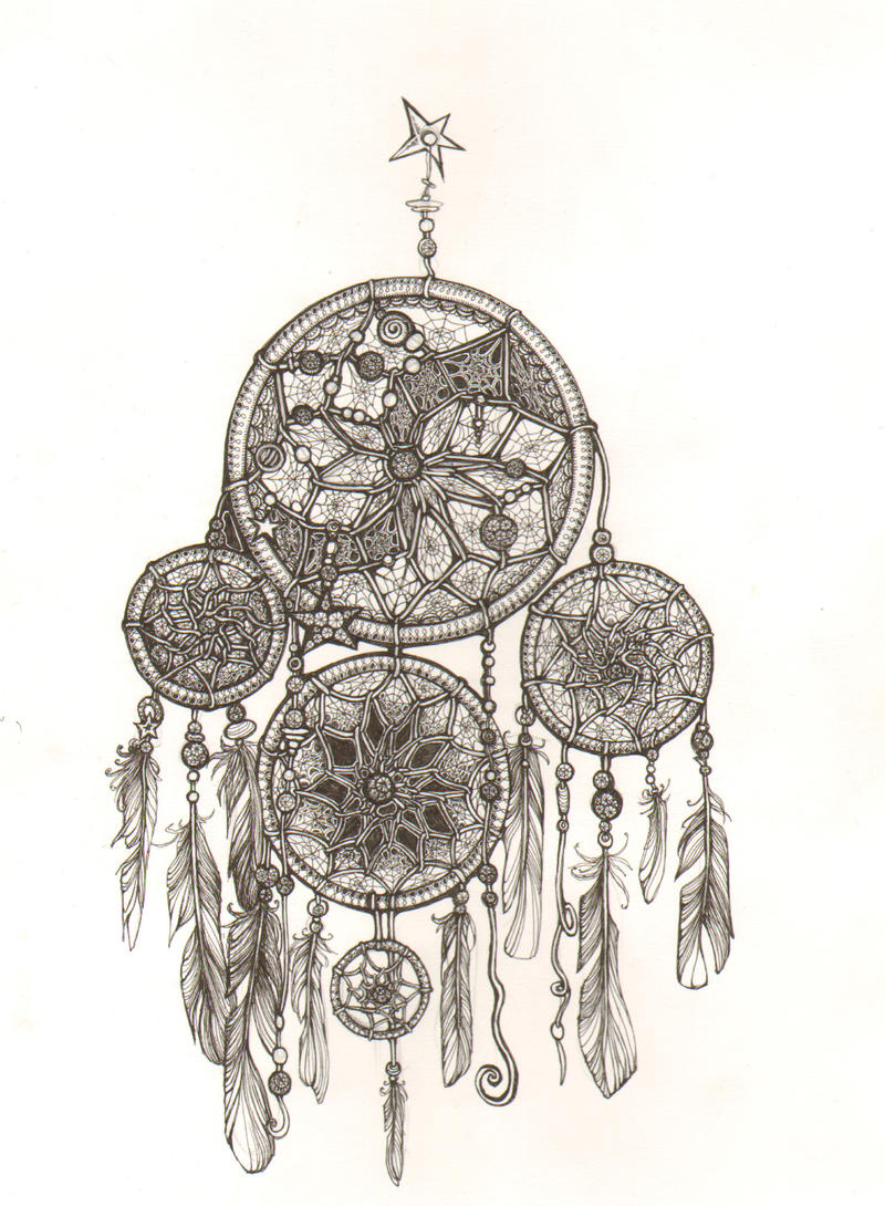 Dream catcher by mukilteocasualtie on deviantart for Easy detailed drawings
