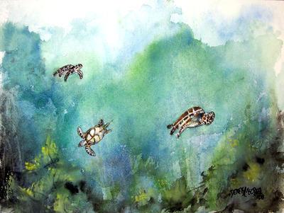 3 Sea Turtles