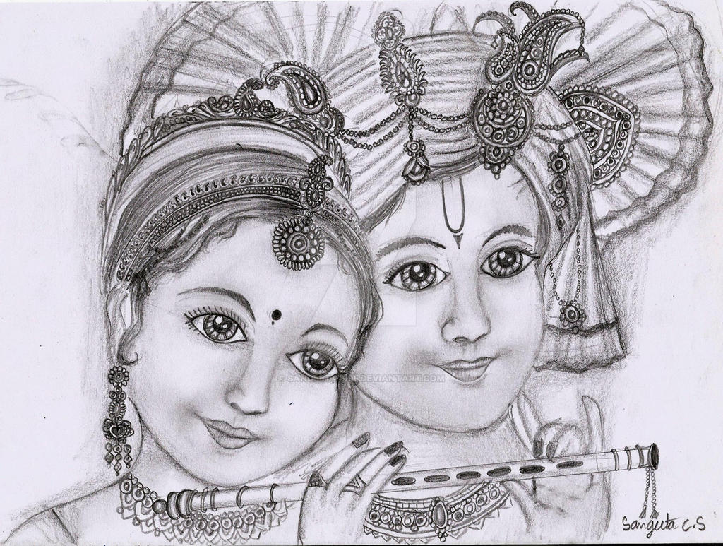 Radha krishna traditional indian sketch by sangeeta1995