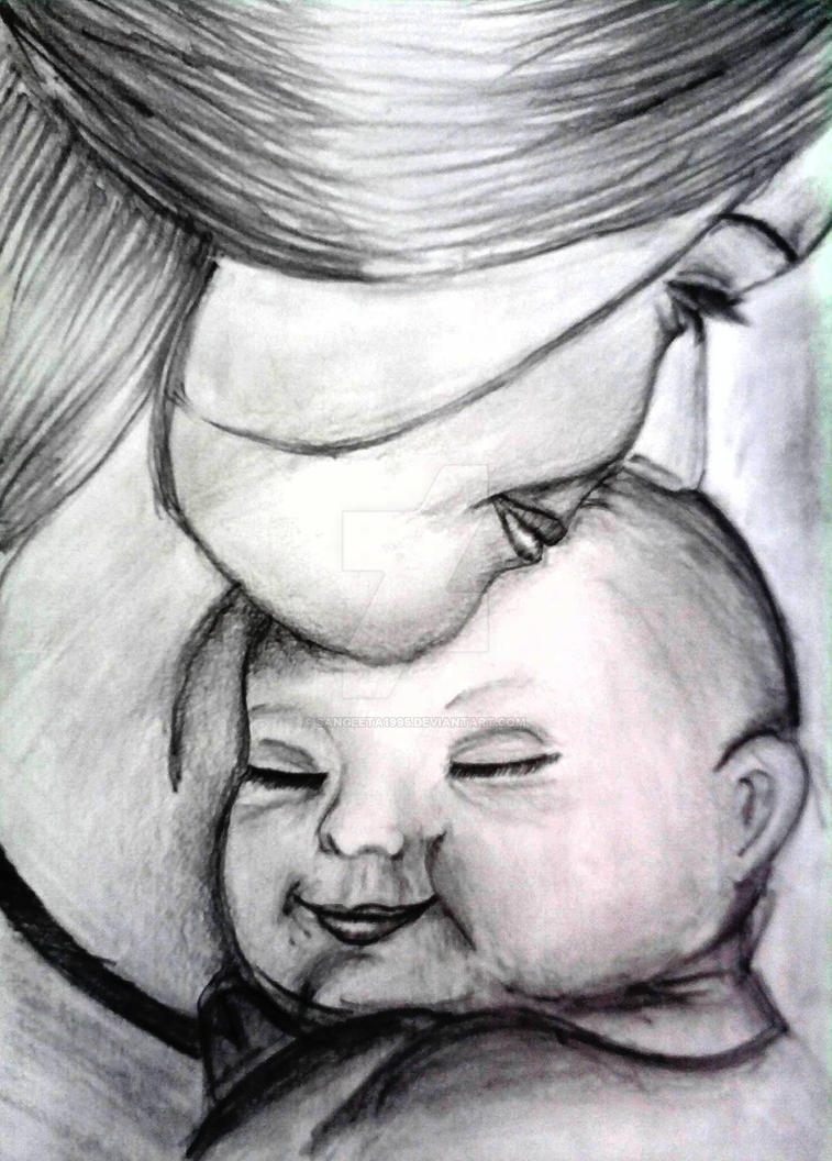 Mother and baby pencil sketch by sangeeta1995