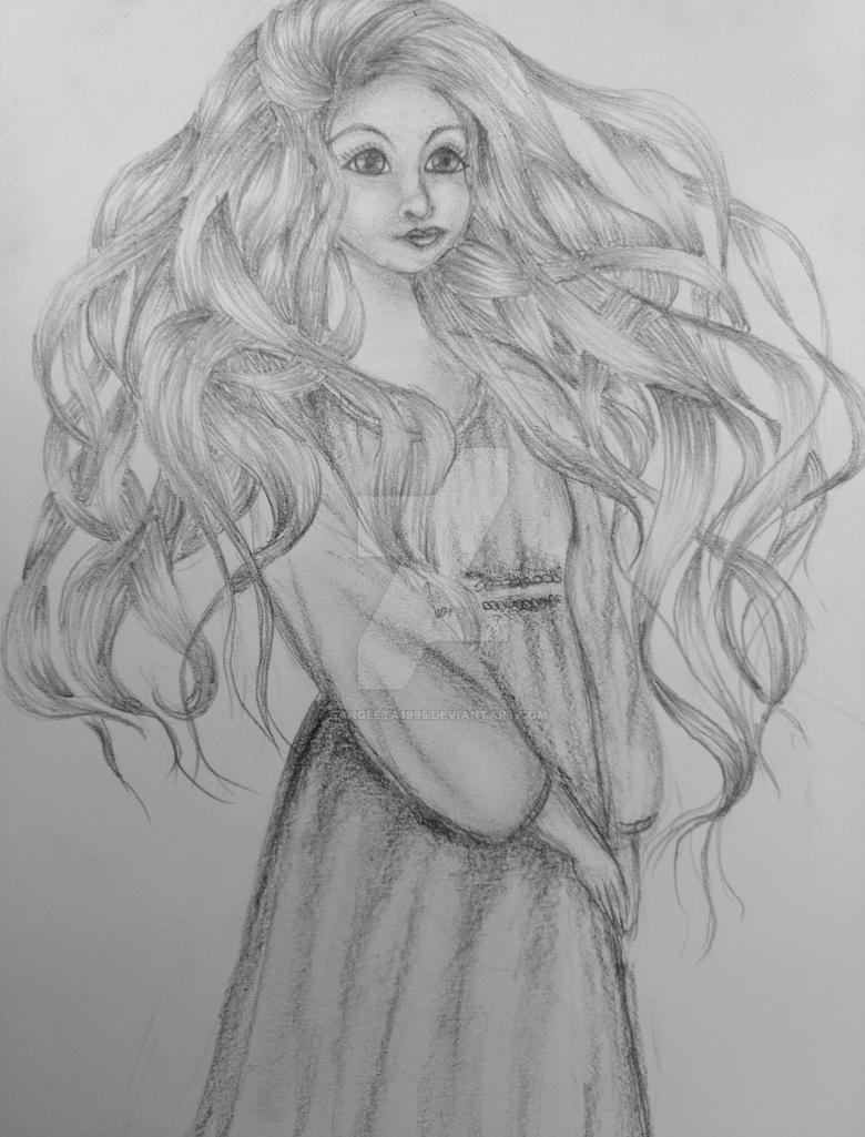 Girl pencil sketch by sangeeta1995