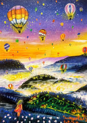 Watching the colorful balloons by Sangeeta1995