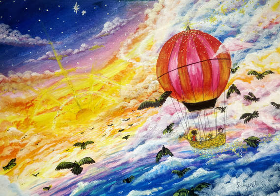 A magical balloon ride into the sunset
