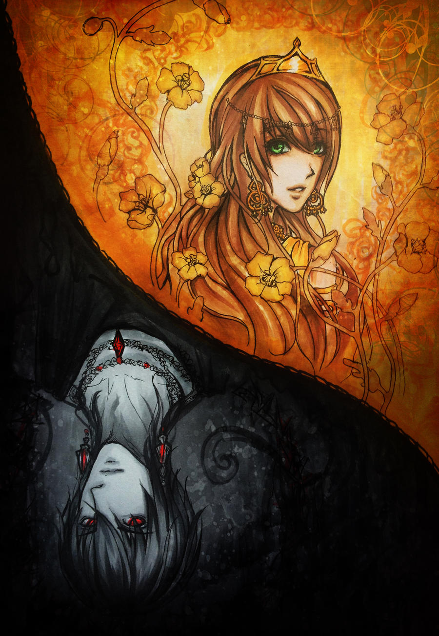 Hades and Persephone -copic sketch- by Fluorescence911Hades Abducting Persephone