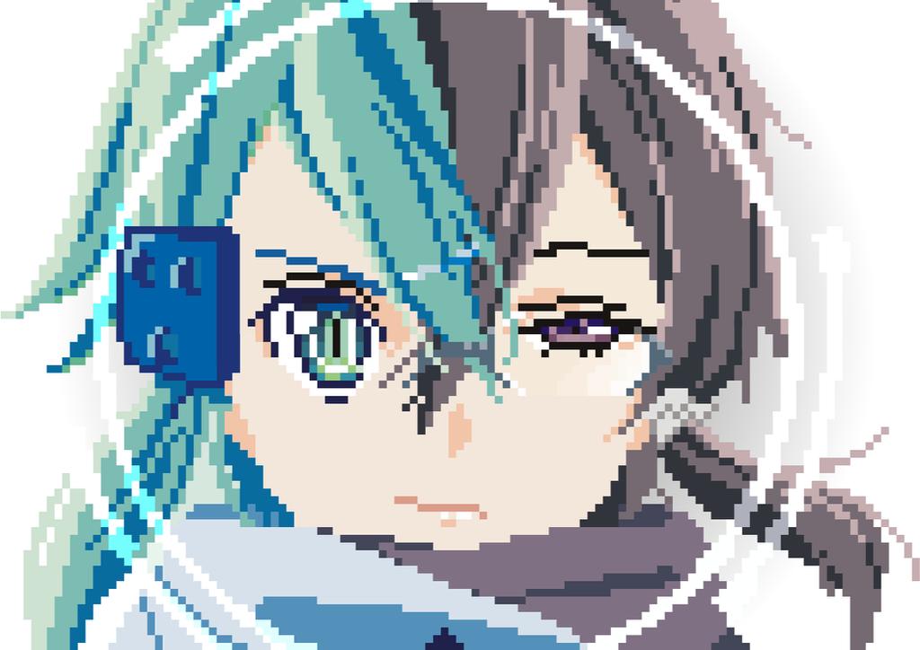One Line Pixel Art : Sword art online sinon by julie on deviantart
