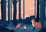 Fox familly illustration