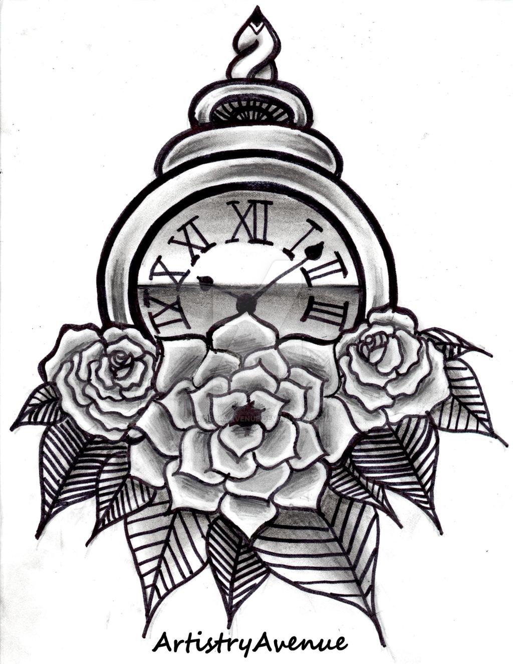 roman numeral watch tattoo design by artistryavenue on deviantart. Black Bedroom Furniture Sets. Home Design Ideas