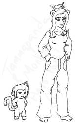 Monkey + Tammapanda Hero Pose Before - BnW by Sith-Witch