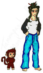 Monkey + Tammapanda Hero Pose Before - Coloured by Sith-Witch