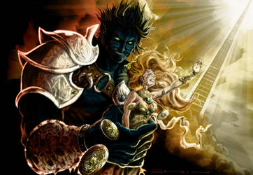 Demon, Goddess and Staircase by enrikor