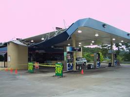 Wind damaged gas station by caspercrafts