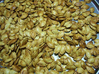Close up of baked pumpkin seeds in Holyoke MA by caspercrafts