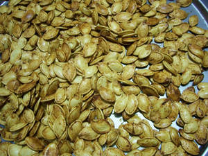 Close up of baked pumpkin seeds in Holyoke MA