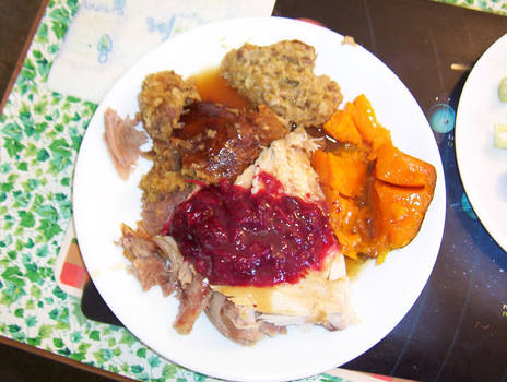 Turkey, Stuffing, Sweet Potatoes, Cranberry, Yum!