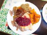 Turkey, Stuffing, Sweet Potatoes, Cranberry, Yum!