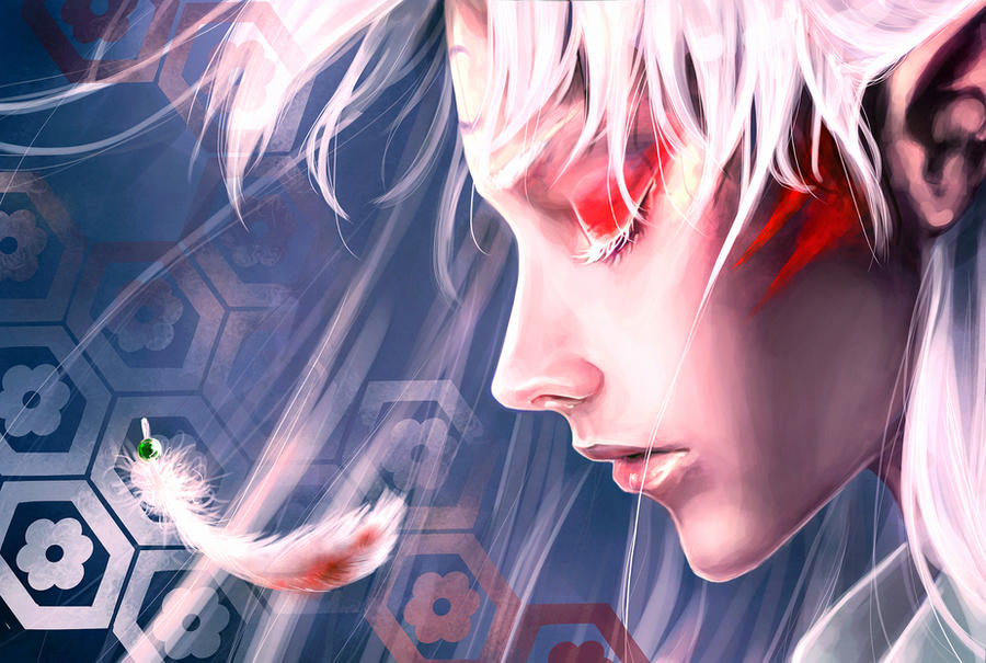 Sesshomaru 39 s feather by sscindyss on deviantart - Anime face wallpaper ...