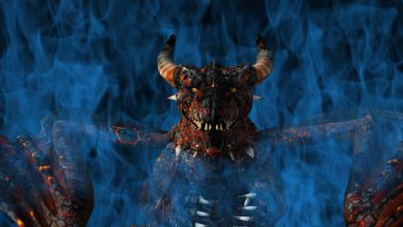 Dragon emerging through blue Flames by DuneDrifter