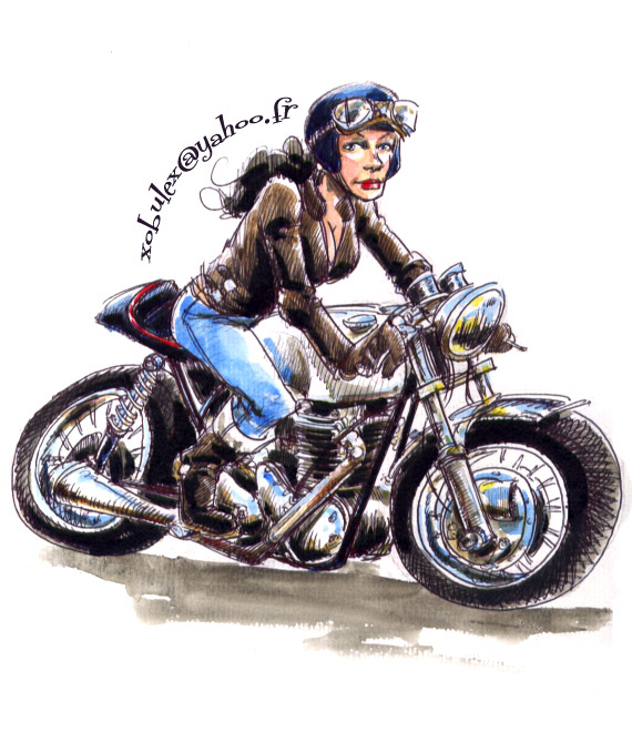 Cafe Racer Girl On A Triumph By Xobule