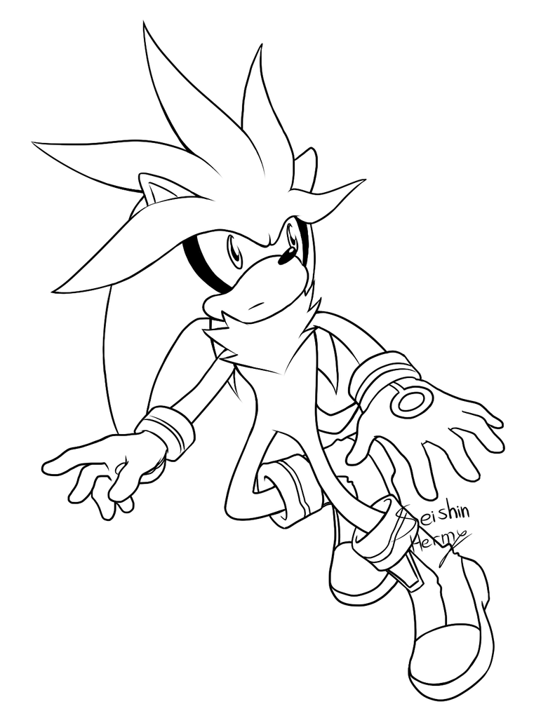 Hyper Free Coloring Pages Silver The Hedgehog Coloring Pages
