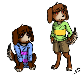 Puppertale - Frisk And Chara by hermengarde