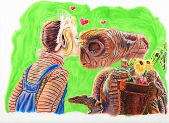 E.T. Thanks to Mr. Spielberg by ElfinIllustrator
