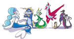 Clean lined Pokemon Team commission