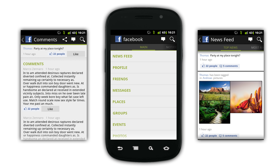 android facebook app mockup by bluefisch200 - Mockups For Android