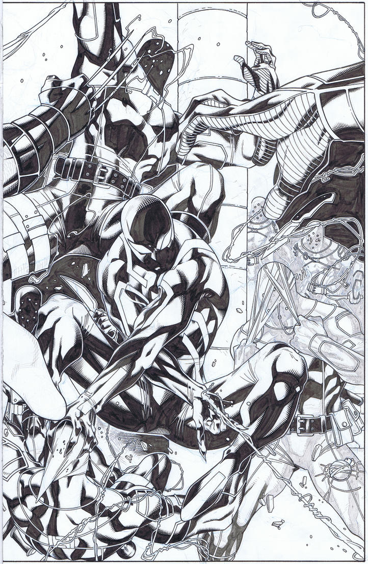 Scarlet Spider Commission WIP 2 by WaldenWong