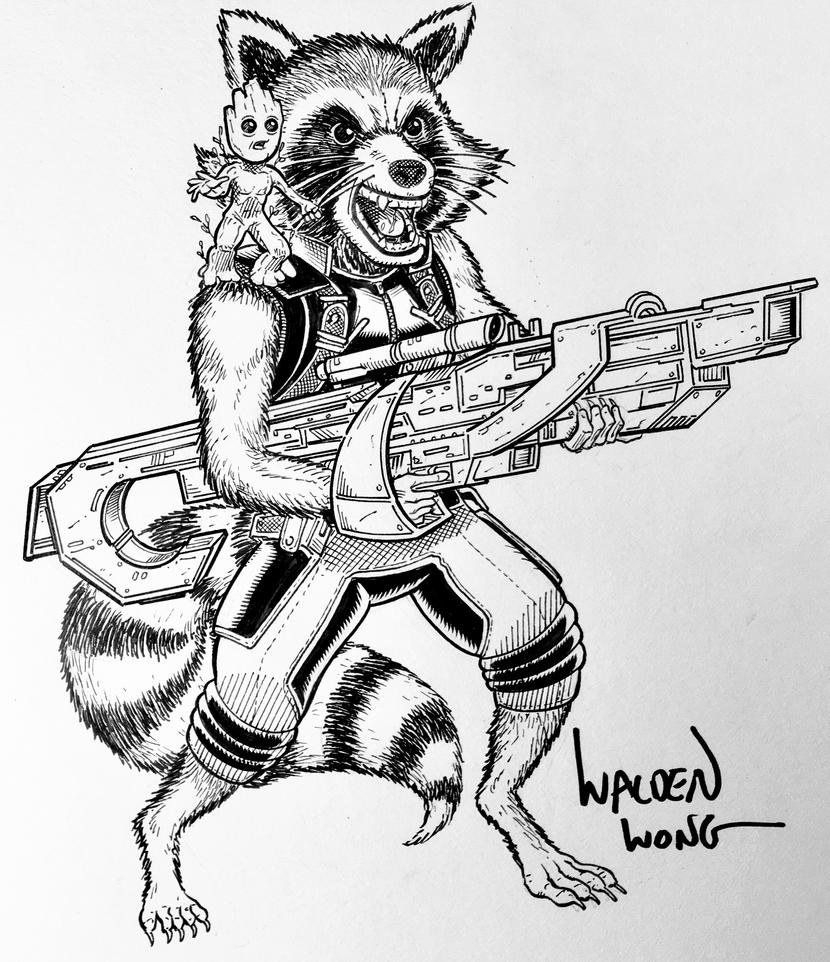 Inktober Day 27 Rocket Raccoon And Baby Groot By
