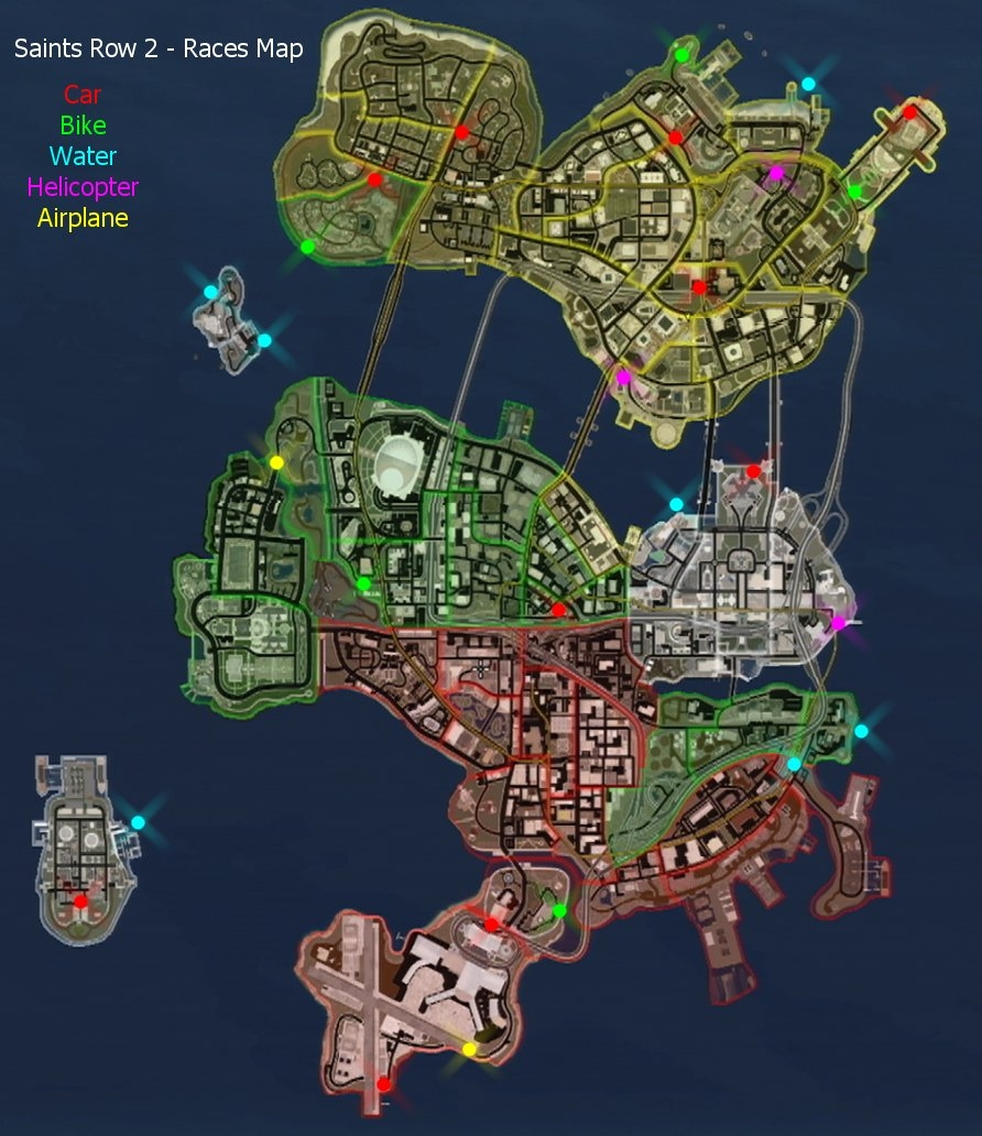 Saints row 2 map with everything on it