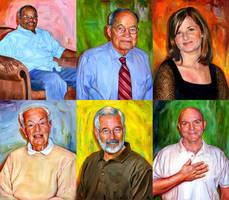 Six Portraits by carts