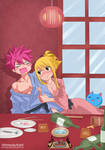 Lucy And natsu-drinking-fairy tail