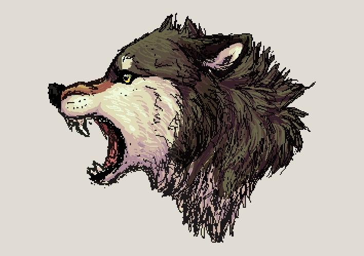 Random pixel wolf by Jeveaux
