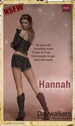 Playcard #04 Hannah (Daywalkers Game)