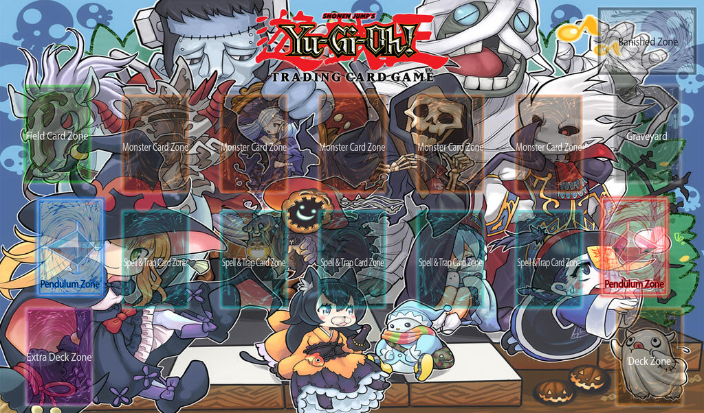 Yu gi oh playmat template ghostrick by logofanime on for Yugioh mat template