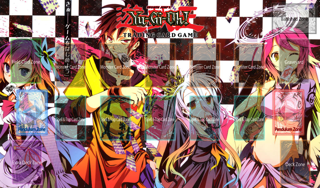 Yu gi oh playmat template no game no life by logofanime for Yugioh mat template