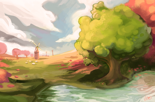 Landscape study with tiny windmill