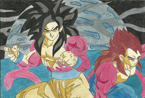 Super saiyan4 Goku and Vegeta by TheMagicUnderpants