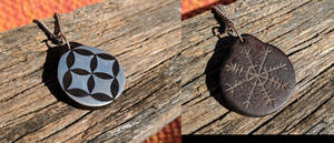 Silver, Ebony and Leather pendant