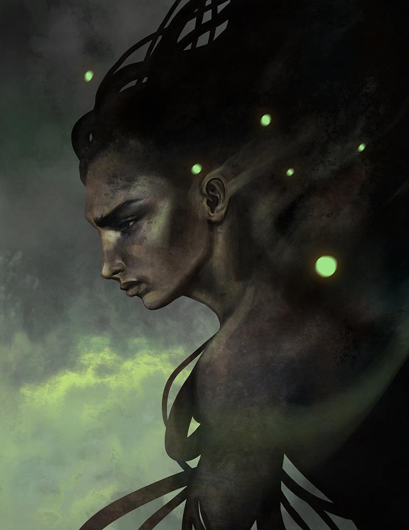 Green night by LenamoArt
