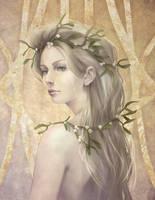Golden Mistletoe - Art nouveau poster